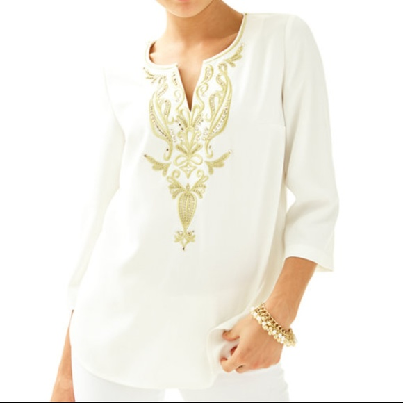 Lilly Pulitzer Tops Dallas Top With Gold Embroidery Poshmark